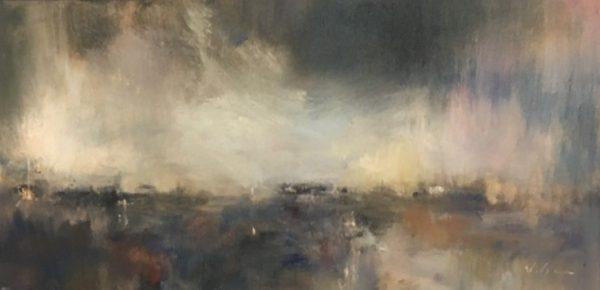 Harbor Lights and Fog, 10x20
